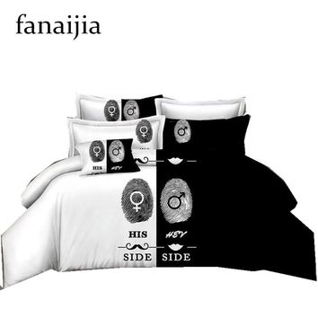 Black&white Her Side His Side bedding sets duvet cover set with pillow case 3 Pcs queen king Size Cool design bed line