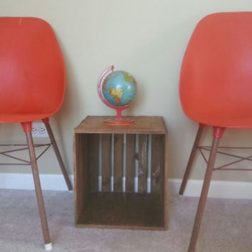 Ordinaire Two Vintage Mid Centruy Red Orange Eames Era Style Molded Shell