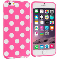 Hot Pink / White TPU Polka Dot Rubber Case Cover for Apple iPhone 6 6S (4.7)