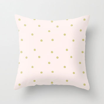 Pillow Cover, Throw Pillow, Gold Dots, Glitter Gold, Pink, Nursery Room Pillow, Dots Pillow, 16x16 Pillow, Home Decor - Life is a Dream
