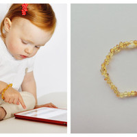 FREE SHIPPING - Beaded natural amber bracelet for baby
