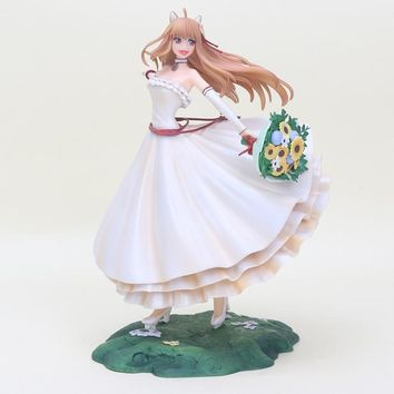 24CM Japan anime figure  Spice And Wolf Holo 1/8 scale painted figure Wedding Dress Ver.10th anniversary PVC Action Figure Dolls