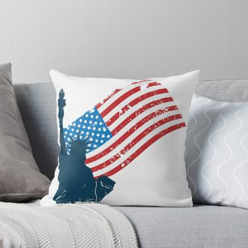 'Statue of Liberty USA Flag Blue' Throw Pillow by poisondesign