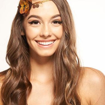 Brown and gold Flower Crown ,Bohemian,Gypsy, boho,indie Headband hair band