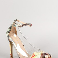 Liliana Graphic Print Lucite Pointy Toe Ankle Strap Pump Color: City Multi, Size: 7.5