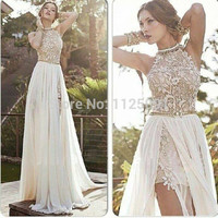 2017 New Arrival Sexy White Chiffon Beaded Appliques Lace Prom Dresses Long Halter Side Slit Spring Evening Gowns