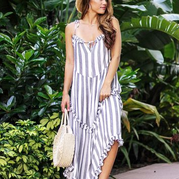 Endless Summer Striped Maxi Dress (Grey)