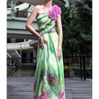 2012 New In Stock Dresses Beautiful A-line One-shoulder Floor Length Nano Tencel Print Evening Dress  -SinoSpecial.com