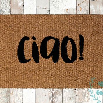 Ciao! Coir Doormat, Decorative Area Rug, Hand Painted Hand Woven, Housewarming Gift