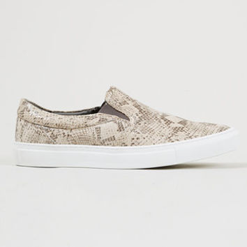 'Tux Snake' Grey Snake print leather slip-on sneakers - Plimsolls & Sneakers - Shoes and Accessories