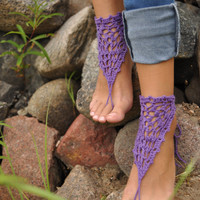 Purple Crochet Barefoot Sandals, Nude shoes, Foot jewelry, Wedding, Victorian Lace, Sexy, Yoga, Anklet , Bellydance, Steampunk, Beach Pool