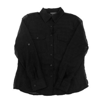 Black Crinkle Shirt - Button Down Sheer Chiffon Minimal 90s Grunge Goth - Women's Size Medium Med M