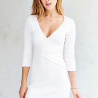 English Factory Ribbed Surplice Mini Dress - Urban Outfitters