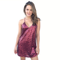 Love A Little Sparkle Sequin Dress In Wine
