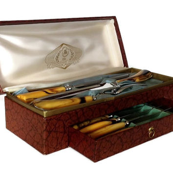 Glo Hill Carving Set, Mid Century Bakelite Knife Set, Steak Knives, Carving Knife, Sharpener, Fork