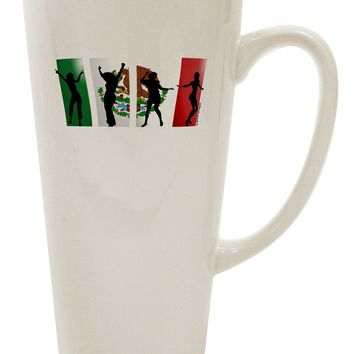 Mexican Flag - Dancing Silhouettes 16 Ounce Conical Latte Coffee Mug by TooLoud