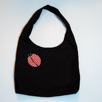Ladybug purse, black purse, shoulder bag, hobo, slouch bag