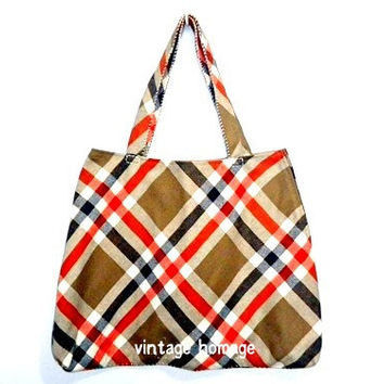 United Colors of Benetton tan & orange plaid upcycled tote bag