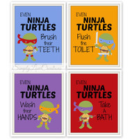 "Ninja Turtles Bathroom Prints - Set of 3 Prints - ""Even Ninja Turtles brush their teeth"" Teenage Mutant Ninja Turtles // Pop Art Print"