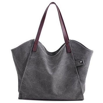 Mfeo Women Canvas Shoulder Bag Weekend Shopping Big Bag Tote Handbag Work Bag