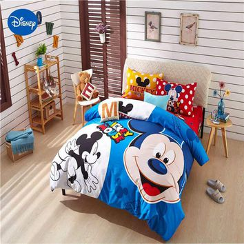 Cool blue Mickey mouse comforter cover set queen twin king size disney minnie beddings single bed clothes pillow cover sweet gift boyAT_93_12