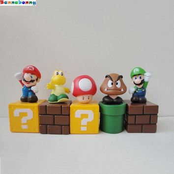 Super Mario party nes switch 5PCS/Lot  Bros  figure Luigi mushroom Goomba Toad Yoshi PVC Action Figures Toy children gift AT_80_8