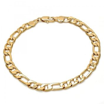 Gold Layered Basic Bracelet, Figaro Design, Golden Tone