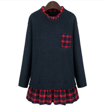 Blue and Red Plaid Long-Sleeve Ruffled Long-Sleeve Shirt