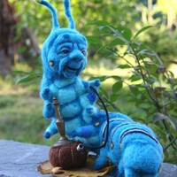 The Blue Caterpillar in Alice's Wonderland w his Hookah OOAK Needle felted Artist Doll by Stevi T.