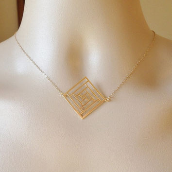 Gold Diamond Necklace -Geometric Necklace - Cutout Necklace - Square Diamond Necklace - Gold Necklace - Mothers Day Gift