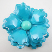Enamel Flower Pin, Blue Teal, Tiered Floral Brooch, Sixties Seventies, Rockabilly Pin Up, 1960s 1970s, Vintage Jewelry