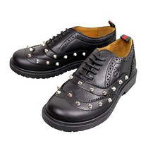 Gucci Kids Black Leather Studded Lace-up Sneakers 297486