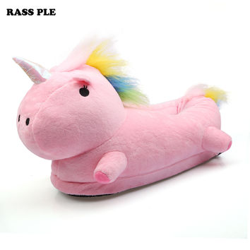 RASS PLE Unisex Unicorn Slippers Chausson Licorne Indoor Home Infoor Indoor Slippers Fluffy Shoes For House Bedroom