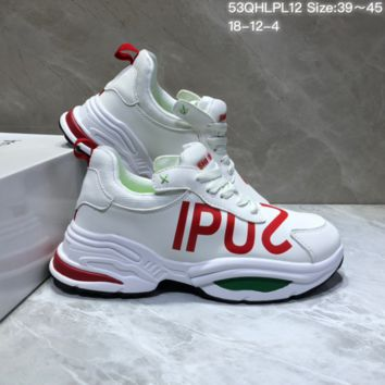DCCK B028 Balenciaga Ipus Shi Leather Casual Running Shoes White Red