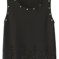Stud Cut Out Sleeveless Cropped Top
