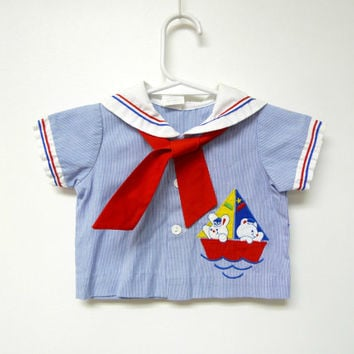 SAILOR BUNNIES . button down sailor shirt . baby boy size 3 - 6 months