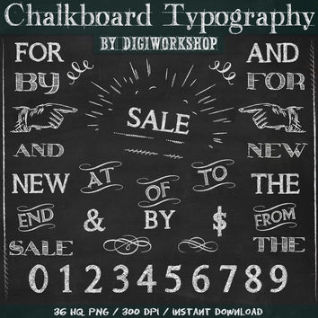 """Chalkboard clipart typography - Digital """"Chalkboard Typography"""" clip art set with words, wedding typography, flourishes, letters, numbers"""