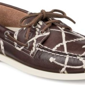 Sperry Top-Sider Authentic Original Anchor Painted 2-Eye Boat Shoe BrownPaintedAnchors, Size 9.5M  Men's Shoes