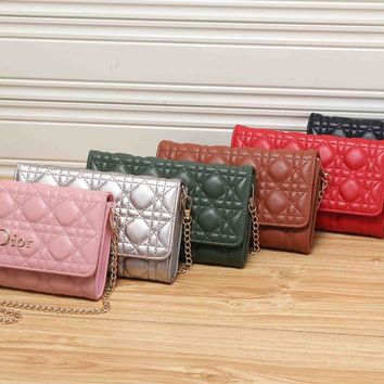 Dior Fashion Quilted Solid Color Single Shoulder Messenger Bag Women Chain Small Square Bag Clutch