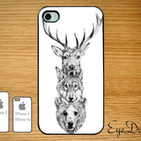Deer, Wolf and Bear Case IPhone 5 Case, IPhone 4s Case, IPhone 4 Case