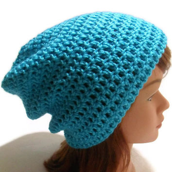 Crochet Kendall Slouchy Beanie Hat in Turquoise Blue