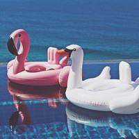 2016 Summer Baby Pink Flamingo Swimming Ring Inflatable Swan Swim Float Water Fun Pool Toys Swim Ring Seat Boat Kids Swimming