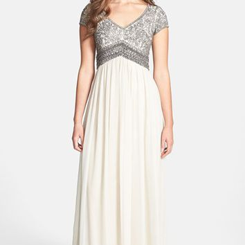Adrianna Papell Embellished Cap Sleeve