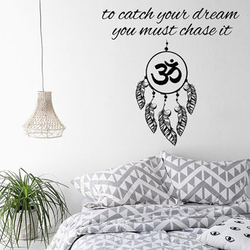 Wall Decals Dream Catcher Quote To Catch Your Dream You Must Chase It Amulet Feather Om Sign Home Vinyl Decal Sticker Interior Decor kk816