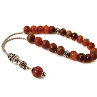 Greek Komboloi, Worry Beads, Red Horn Beads, Silvertone Metal Chain Komboloi