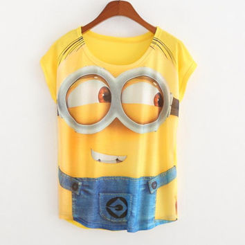 New summer thin cotton slim tops Batwing t shirts women jeans Despicable me print Casual t shirt women t-shirt das mulheres