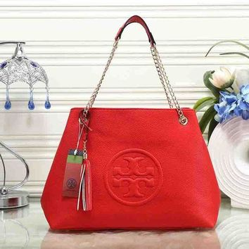 """Tory Burch"" Popular Women Shopping Leather Metal Chain Satchel Shoulder Bag Handbag Red I"