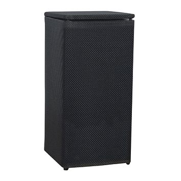 Black Basketweave Laundry Basket Clothes Hamper with Hinged Lid