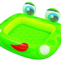 "Inflatable Frog Baby Swimming Pool with Plastic Bells Inside Eyes (50"" X 43"")"