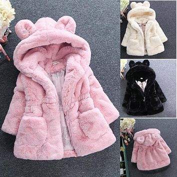 2018 New Winter Baby Girls Clothes Faux Fur Fleece Coat Pageant Warm Jacket Xmas Snowsuit 1-8Y Baby Hooded Jacket Outerwear